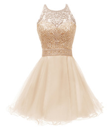 Chinese  2019 Blush Short Homecoming Prom Dresses Halter Lace Appliques Beaded A Line Ruffles Skirt Criss-Cross Back Junior Graduation Prom Gown manufacturers