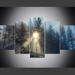 $enCountryForm.capitalKeyWord Australia - 5 Piece Large Size Canvas Wall Art Pictures Creative Sunshine Forest Art Print Oil Painting for Living Room