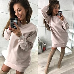 c3771c769a8 Hot Sale Womens Plus Size Dress Hooded Solid Casual Fashion Party Club  Dresses Brief Long Sleeve Spring Autumn Long Hoodies