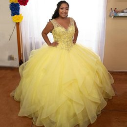 keyhole plus size dress UK - Glittery Yellow Plus Size Quinceanera Dresses Organza Overskirts V-neck Keyhole Back Beading Crystal Ruffle Prom Sweet 16 Dress Ball Gowns