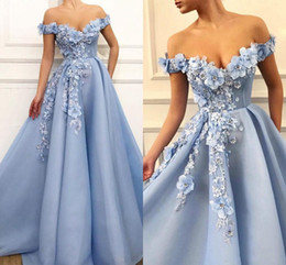 3d dress NZ - 2019 Elegant Prom Dresses Lace 3D Floral Appliqued Pearls Evening Dress A Line Off The Shoulder Custom Made Special Occasion Gowns
