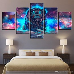 multi piece abstract canvas art Australia - Canvas Wall Art Painting Home Decor 5 Pieces Color Abstract Nebula Lion Constellation Pictures Modular HD Print Poster Framework