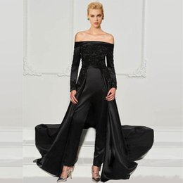 Long sLeeve white evening dress gown online shopping - 2020 Modern Black Lace Jumpsuits Evening Dresses With Detachable Train Off The Shoulder Beaded Formal Gowns Long Sleeves Sequined Prom Dress