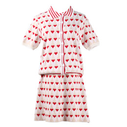 womens spring two piece dresses UK - 2019 Spring New Womens Gold Line Love Embroidery Short-sleeved Knit Cardigan Plus Half Sleeve Fashion Casual Two-piece Set Size S-L
