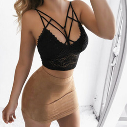black v neck camisole 2019 - 2019 New Women Lace Strap V Neck Tanks Top Bras Bandage Short Crop Top Vest Camisole Shirt Underwear Summer Tops Plus Si