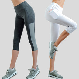 $enCountryForm.capitalKeyWord NZ - psvteide Women Capri Leggings Side Pocket Design Sexy Yoga-Pants High Waist Mesh 3 4 Leggings Compression Tights Women's Fitness