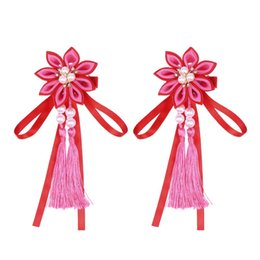 $enCountryForm.capitalKeyWord Australia - 2 Pcs Hair Clips Flower Pink Pearl Cute Tassels Hanging Hairpins Barrettes Hair Grips for Girls Kids
