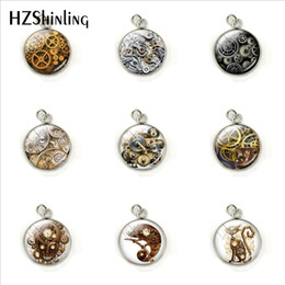Discount steampunk circle glasses - 2019 Vintage Steampunk Gearwheels Patterns Fashion Charms Glass Cabochon Hand Craft Stainless Steel Pendants Jewelry Acc