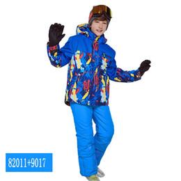 Ski Suits Australia - Phibee Boys Girls Ski Suit Waterproof Pants+Jacket Set Winter Sports Thickened Clothes Children's Ski Suits