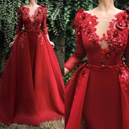 princess scoop prom dresses Australia - 2019 Red Elegant Scoop Neck Lace Evening Dresses Long Sleeves Applique 3D Floral Floor Length With Over Skirt Evening Prom Gowns Custom Made