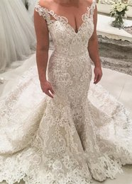 $enCountryForm.capitalKeyWord NZ - Vintage Lace Wedding Dresses 2019 robe de mariee Mermaid Illusion Neckline Cap Sleeve Bead Wedding Dress Bridal Gowns vestidos de noiva