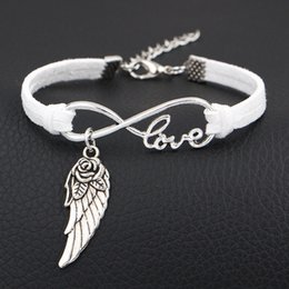 Flower Gift For Love Australia - Hot White Leather Suede Bracelet For Women Men Classic Bohemia Infinity Love Flower Wings Angel Charms Wrap Fashion Jewelry Accessories Gift