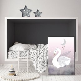 pink decorative paintings UK - Swan Princess Posters Canvas Painting Baby Girls Room Wall Art Prints Nursery Decorative Pink Pictures Kids Girl Room Decoration