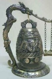 Home Office Storage Kind-Hearted Meditation Gong With 7 Ornate Bell With Dragon Design Musical Instrument Garden Decoration 100% Real Tibetan Silver Brass With The Best Service