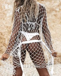 cover ups for summer Australia - 2019 New Hollow Out Beading Cover Ups Summer Long Sleeve Beach Dress For Women Fishnet See Through Cover-Up Robe Plage