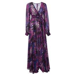 $enCountryForm.capitalKeyWord UK - Fashion design women dresses big swing skirt European and the US new long-sleeved V-neck printed summer dress womens clothes clothing skirts