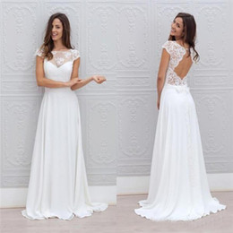 $enCountryForm.capitalKeyWord Australia - 2019 Cap Sleeve Sheer Neck Boho Wedding Dresses Open Back Lace Chiffon Bridal Gowns Cheap Beach Wedding Dress Custom Made