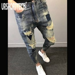 plus size destroyed jeans Australia - URSPORTTECH Men Jeans Men Ripped Loose Biker Jeans Destroyed Hole Taped Slim Fit Denim Scratched High Quality Jean Plus Size
