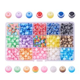 Wholesale 2019 Europe and the United States boxed creative rainbow color stripe resin loose beads DIY handmade children's beaded jewelry accessories