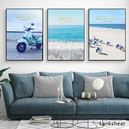 $enCountryForm.capitalKeyWord Australia - Nordic Pop Art Poster Beautiful Blue Seascape Canvas Painting Mediterranean Style Motorcycle Wall Pictures For Living Room Decor