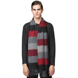 Tartan Scarf Thick Australia - Ancient Men's long scarf Cashmere winter thick warm lattice tassel Sold by item