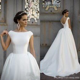 Wedding Gown Draped Back Australia - 2019 A Line Wedding Dresses Cheap Boat Jewel Neck Ruched Draped Cap Sleeves V Back Satin Sweep Train Plus Size Custom Bridal Gowns