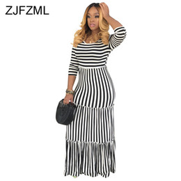 $enCountryForm.capitalKeyWord Australia - Black White Stripe Bohemian Long Dress Women Round Neck Three Quarter Sleeve Beach Dress Summer High Waist Plus Size Robe Femme Y19073001