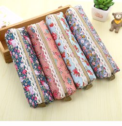 kids pen pouch NZ - Fashiong Retro Flower Lace Floral Canvas Zipper Pencil Case Pen Bag Purse Cosmetic Makeup Pouch For For Kids Girls School