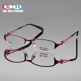 China Women Eyeglasses Frame Fashion Temple Design Glasses Frames Women's Super Light Half Rimless Optical Prescription Spectacles cheap rimless eyeglass frames wholesale suppliers