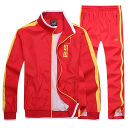 Linen running shorts online shopping - Autumn China National Team Motion Suit Long Sleeve Men And Women Student School Uniform Run Leisure Time Champion Receive A Prize Appearance