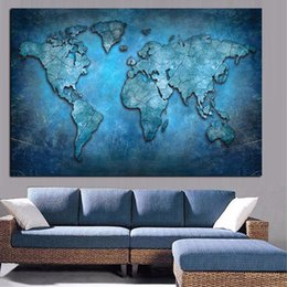 canvas wall art world map UK - Abstract 3D World Map Canvas Painting Modern Globe Map HD Print On Canvas for Office Meeting Room Picture Wall Art Cuadros Decor