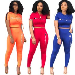 $enCountryForm.capitalKeyWord Australia - Summer Women Champions Tracksuits Letter Print Short Sleeve T-shirt Crop Top+ Pants 2 Piece Set Spring Sportswear Outfits Sports Suit