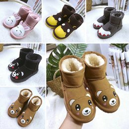 8d5873916ff designer shoes Kids Children WGG Snow Boots Australia Style 2-Bow Back  Decoration Slip-on Winter Cow Leather Girls Boots Brand Ivg EU21-35