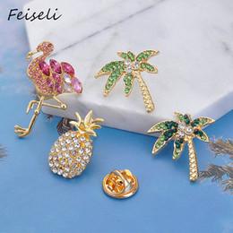 CoConut deCor online shopping - Feiseli Creative Alloy Cartoon Pineapple Crystal Brooch For Women Coconut Tree Flamingo Animal Badge Hand Bag Decor Ornament