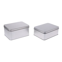 Small Silver Box Case UK - Portable Rectangular Tin Silver Metal Storage Box Case Organizer For Money Coin Candy Keys Small Items Survival Kit Power