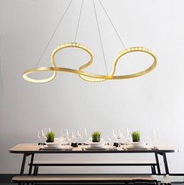 $enCountryForm.capitalKeyWord Australia - Modern Stylish Gold Aluminium LED pendant lights High quality K9 crystal chandelier Hanging light fixture for dinning living room bedroom