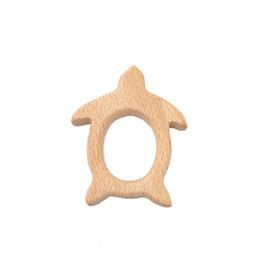 latex toys UK - 4pcs Wooden Sea turtle Teether Wood Pendant Teething Toys Cute Animal Shape Food Grade Materials Organic Chew Gift Baby Teethers