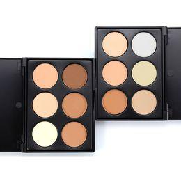 $enCountryForm.capitalKeyWord Australia - Private Label 6 Colors Cosmetic Concealer Cream Face Highlighter Bronze Powder Camouflage Cream Contour Palette +1PC Quality Makeup Brush