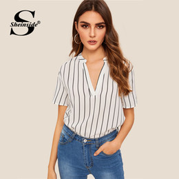 ca3d501299 Vertical striped ladies tops online shopping - Sheinside Elegant V Neck Vertical  Stripe Print Blouse Women