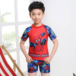 $enCountryForm.capitalKeyWord Australia - Children's Swimsuit Two-piece Bathing Suit Cartoon Captain Spider-Man Swimwear Hot Spring Beachwear Swim Wear For Kids Boy 3-6-12 Y 6.5