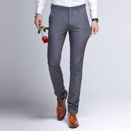 Black Dress Pants Men NZ - Suit Pants For Men Summer Business Straight Slim Men's Dress Pants Black Plus Velvet Wedding Formal Trousers Male 2019