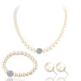 $enCountryForm.capitalKeyWord Australia - New exquisite bridal sweater chain neck kit, 100 set diamond pearl necklace earrings bracelet set wholesale