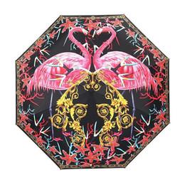 Опт Фламинго Птица Зонтик Марка Зонтик Складной Bumbershoot Женщины Ветрозащитный Гвардии Против Ультрафиолетового Мода Бардиан 4 цвета MMA1701