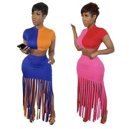 Wholesale womens dresses suits resale online – Womens designer Two Piece Set Outfits sportswear Tracksuit short sleeve above knee dress Jogging Sports jacket skirt Suits clubwear