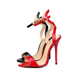 $enCountryForm.capitalKeyWord Australia - Size 40-50 designer women summer sandals sexy red black leather open toe stiletto heel shoes 13cm high heels red sole party dress shoes
