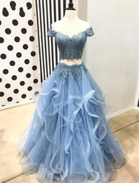 $enCountryForm.capitalKeyWord Australia - Baby Blue two Pieces Prom Dresses Boat Neck Cap Sleeve Lace Top Tiered Tulle Long Evening Gowns 2019 Custom Made Summer Party Dress