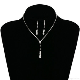 Silver Bridal Earring Necklace Set Bridal Jewelry Cheap Hot Sale Holy White Rhinestone Crystal Party Prom Cocktail Party In Stock from silver braided rope bracelets manufacturers