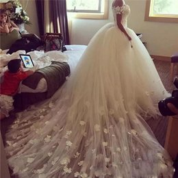 Floral corsets online shopping - 2020 Luxurious Ball Gown Wedding Dresses Off Shoulder Lace Appliques D Flower Corset Back Puffy Garden Chapel Train Formal Bridal Gowns