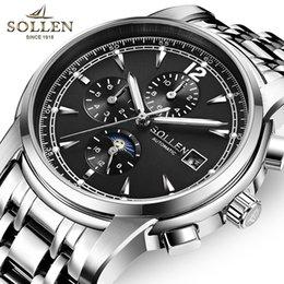 Discount self luminous watch automatic - SOLLEN Business Men's Automatic Self-Wind Mechanical Watches Waterproof Multifunction Luminous Watch Men Relojes Ho