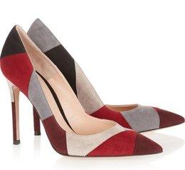 $enCountryForm.capitalKeyWord Australia - 2019 Shipping cheap hot sale high quality women's fashion suede plaid stitching color high heels formal dress high heels